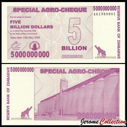 ZIMBABWE - Billet de 5000000000 DOLLARS - 5 Billion - Special Agro cheque - 15.05.2008