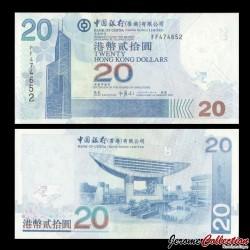 HONG KONG - Bank Of China (Hong Kong) Ltd - Billet de 20 DOLLARS - 2007