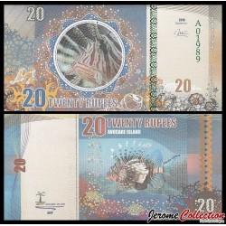 AVOCARE ISLAND / ILE MAURICE - Billet de 20 Roupies - Rascasse volante - 2016