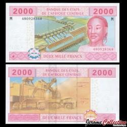 CENTRAFRIQUE - Billet de 2000 Francs - 2002 P308m3