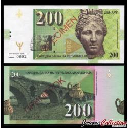 MACEDOINE - Billet de 200 Dinara - Venus - SPECIMEN - 2013
