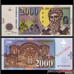 MACEDOINE DU NORD - Billet de 2000 Dinara - Eglise St. George - SPECIMEN - 2013 2000 - St. George - Gabris