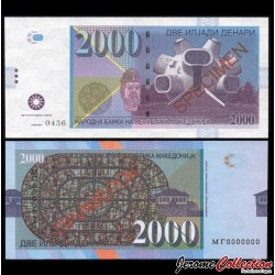 MACEDOINE DU NORD - Billet de 2000 Dinara - Makedonium - SPECIMEN - 2013 2000 - Makedonium - Gabris