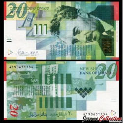 ISRAEL - Billet de 20 New Shekels - Moshe Shertok - 2008 P59c