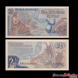 INDONESIE - Billet de 2 ½ Rupiah - 1961