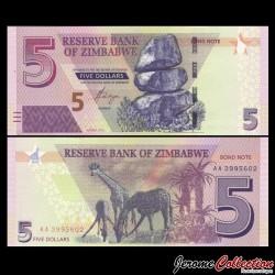 ZIMBABWE - Billet de 5 DOLLARS - 2016