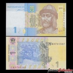 UKRAINE - Billet de 1 Hrivnya - Prince St. Vladimir - 2014