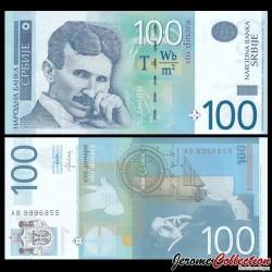 SERBIE - Billet de 100 Dinara - Nikola Tesla - 2013 P57b