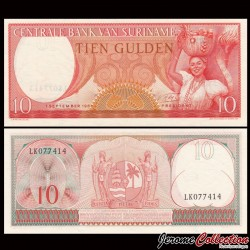 SURINAME - Billet de 10 Gulden - 1963