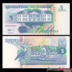 SURINAME - Billet de 5 Gulden - 10.02.1998
