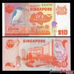 SINGAPOUR - Billet de 10 DOLLARS - Martin-chasseur - 1976