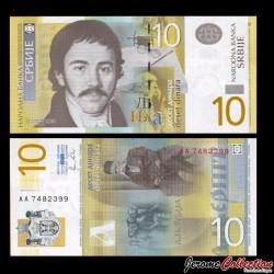 SERBIE - Billet de 10 Dinara - 2011 - Vuk Stefanović Karadžić P54a