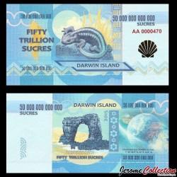 ILE DARWIN / DARWIN ISLAND - Billet de 50 Trillion de Sucres - 2015