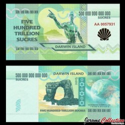 ILE DARWIN / DARWIN ISLAND - Billet de 500 Trillion de Sucres - 2015
