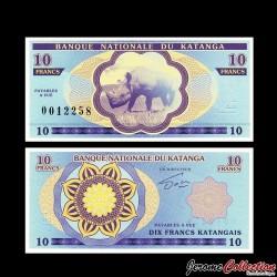 KATANGA - Billet de 10 Francs - Rhincoéros - 2013
