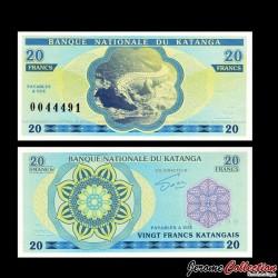 KATANGA - Billet de 20 Francs - Crocodile - 2013