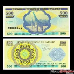 KATANGA - Billet de 500 Francs - Girafes - 2013