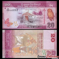 SRI LANKA - Billet de 20 Roupies - chouette - 2015