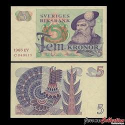 SUEDE - Billet de 5 Couronnes - Roi Gustav Vasa - 1966 P51a1