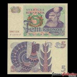 SUEDE - Billet de 5 Couronnes - Roi Gustav Vasa - 1967 P51a2