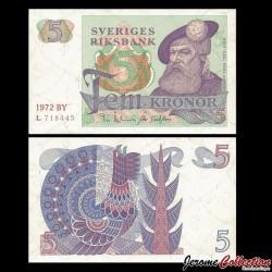 SUEDE - Billet de 5 Couronnes - Roi Gustav Vasa - 1972