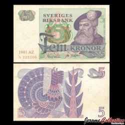 SUEDE - Billet de 5 Couronnes - Roi Gustav Vasa - 1981