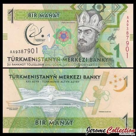 TURKMENISTAN - Billet de 1 Manat - 2017