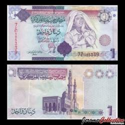 LIBYE - Billet de 1 Dinar - Colonel Kadhafi - 2009 P71a