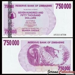 ZIMBABWE - Billet de 750000 DOLLARS - Bearer cheque - 31.12.2007 P52a