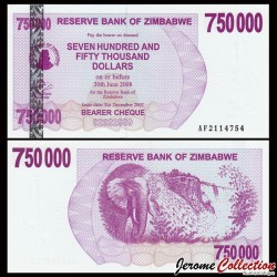 ZIMBABWE - Billet de 750000 DOLLARS - Bearer cheque - 31.12.2007