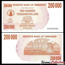 ZIMBABWE - Billet de 200000 DOLLARS - Bearer cheque - 01.07.2007