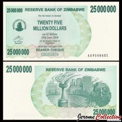 ZIMBABWE - Billet de 25000000 DOLLARS - Bearer cheque - 02.04.2008