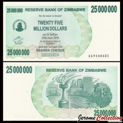 ZIMBABWE - Billet de 25000000 DOLLARS - Bearer cheque - 02.04.2008
