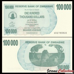 ZIMBABWE - Billet de 100000 DOLLARS - Bearer cheque - 01.08.2006