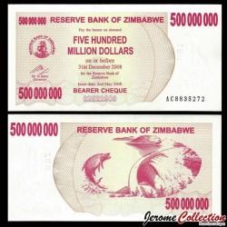 ZIMBABWE - Billet de 500000000 DOLLARS - Bearer cheque - 02.05.2008 P60a