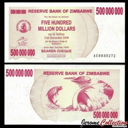 ZIMBABWE - Billet de 500000000 DOLLARS - Bearer cheque - 02.05.2008