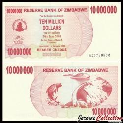 ZIMBABWE - Billet de 10000000 DOLLARS - Bearer cheque - 01.01.2008