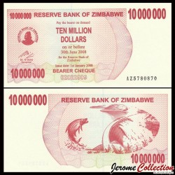ZIMBABWE - Billet de 10000000 DOLLARS - Bearer cheque - 01.01.2008