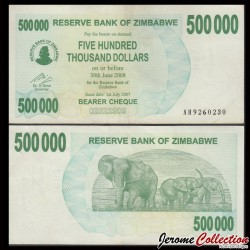 ZIMBABWE - Billet de 500000 DOLLARS - Bearer cheque - 01.01.2007