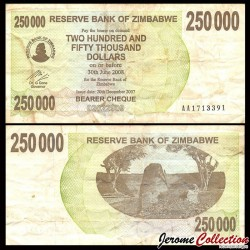 ZIMBABWE - Billet de 250000 DOLLARS - Bearer cheque - 20.12.2007