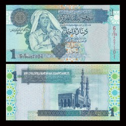 LIBYE - Billet de 1 Dinar - Colonel Kadhafi - 2004 / 2008 P68b