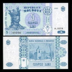 MOLDAVIE - Billet de 5 Lei - 2005