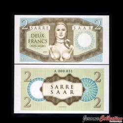 SARRE / SAAR - Billet de 2 Francs - Marianne (Brigitte Bardot) - 2015 0002 - Marianne - Gabris