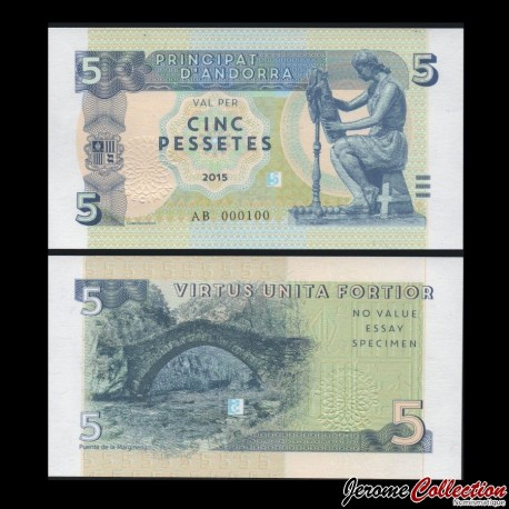 ANDORRE - Billet de 5 Pessetes - 2015