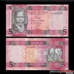 SUD SOUDAN - BILLET de 5 Livres Soudanaise - 2015