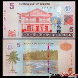 SURINAME - Billet de 5 DOLLARS - 01.04.2012