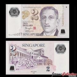 SINGAPOUR - Billet de 2 DOLLARS - Polymer - ♦ ♦ - 2015 P46g