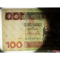 MONACO - Billet de 100 Francs - Princesse Grace Kelly - 2015