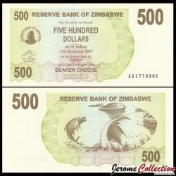 ZIMBABWE - Billet de 500 DOLLARS - Bearer cheque - 01.08.2006