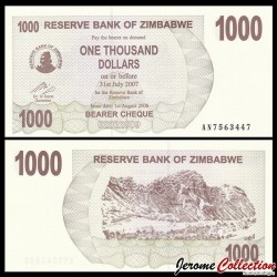 ZIMBABWE - Billet de 1000 DOLLARS - Bearer cheque - 01.08.2006